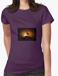 Deer on a Mountain Womens Fitted T-Shirt