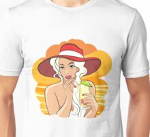Girl with Cocktail retro illustration Unisex T-Shirt