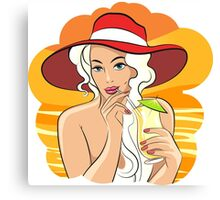 Girl with Cocktail retro illustration Canvas Print