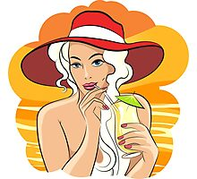 Girl with Cocktail retro illustration Photographic Print