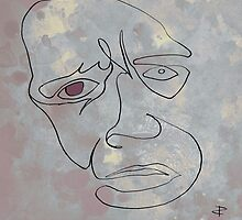 squigglehead  with red eye - drawing by Paul Davenport