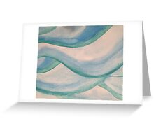 Water Color Waves in Aqua, Seafoam and Blue Greeting Card