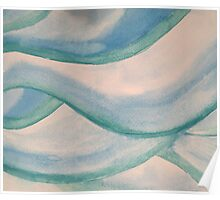 Water Color Waves in Aqua, Seafoam and Blue Poster