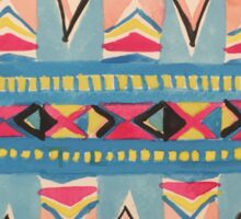 Tribal Motifs in Aqua, Pink, Yellow, Sky Blue and Black Sticker