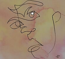 squigglehead  with white highlight - drawing by Paul Davenport