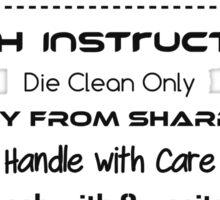 Wash Instructions Sticker