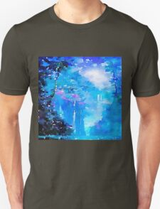 Nature, water fall,lake,water color,painting,shades of blue, Unisex T-Shirt