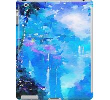 Nature, water fall,lake,water color,painting,shades of blue, iPad Case/Skin