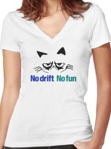 No drift No fun (2) Women's Fitted V-Neck T-Shirt