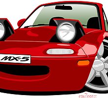 Mazda MX5 caricature red by car2oonz