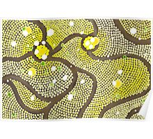 Abstract Yellow Bubbles Digital Drawing Poster