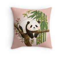 Panda under Sunlight - Pink Throw Pillow
