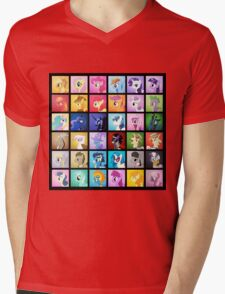 Pony Blocks Mens V-Neck T-Shirt