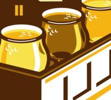 Beer Flight Glass On Van Cityscape Circle Retro Sticker