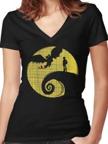 Dragon Nightmare2 Women's Fitted V-Neck T-Shirt