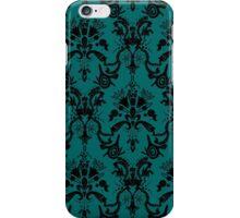 Cosmic Damask Black on Turquoise iPhone Case/Skin