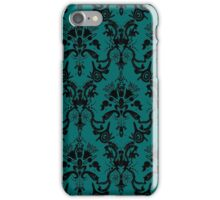 Cosmic Damask Black on Turquoise iPhone Case/Skin