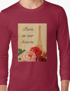 Paris in our hearts,vintage,rustic,grunge,collage,roses,pink,red Long Sleeve T-Shirt