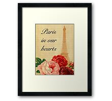 Paris in our hearts,vintage,rustic,grunge,collage,roses,pink,red Framed Print