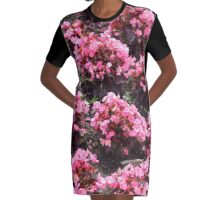 Pink Garden Graphic T-Shirt Dress