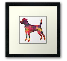 Parson Terrier - Colorful Geometric Pattern - Multi Framed Print