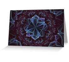 Ornate Blossom in Cool Blues Greeting Card