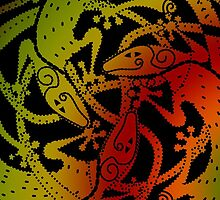 Mandala Lizards in black by DreaMground