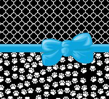 Ribbon, Bow, Dog Paws, Quatrefoil - White Black Blue by sitnica