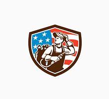 Welder Looking Side USA Flag Crest Retro Unisex T-Shirt