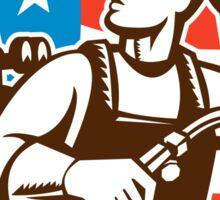 Welder Looking Side USA Flag Crest Retro Sticker