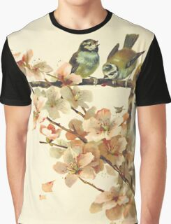 Vintage Birds with Blossoms Graphic T-Shirt