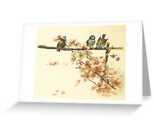 Vintage Birds with Blossoms Greeting Card