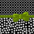 Ribbon, Bow, Dog Paws, Quatrefoil - White Black Green by sitnica
