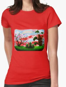 Green Three Womens Fitted T-Shirt