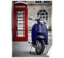 Italian Blue Lambretta GP Scooter Poster