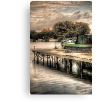Narrow Boat and Jetty HDR  Canvas Print