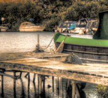 Narrow Boat and Jetty HDR  Sticker