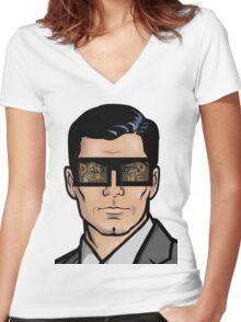 Archer & The Danger Zone Sunglasses Women's Fitted V-Neck T-Shirt