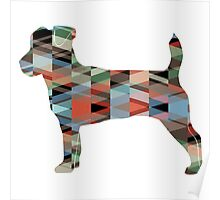 Jack Russell Terrier - Colorful Geometric Pattern - Plaid Poster