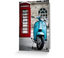 Italian Light Blue Lambretta GP Scooter Greeting Card