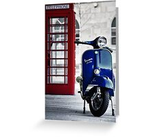 Italian Blue Vespa Rally 200 Scooter Greeting Card