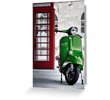 Italian Green Vespa Rally 200 Scooter Greeting Card
