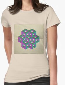 Trendy,70's,retro,geometry,art,cubes,green,teal,purple,modern,trendy Womens Fitted T-Shirt