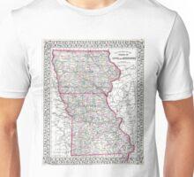 Vintage Iowa and Missouri Map (1874) Unisex T-Shirt