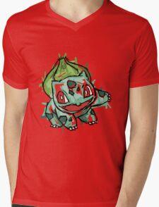 #001 Bulbasaur Illustration Mens V-Neck T-Shirt