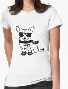 Hipster Corgi - Cute Dog Cartoon Character - Corgis Rule Womens Fitted T-Shirt