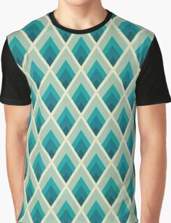 retro,70's,art deco,pattern,vintage,zig zag,chevron,teal,green,mint Graphic T-Shirt