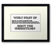 Knitting Jargon Framed Print