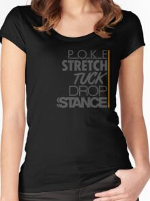 POKE STRETCH TUCK DROP STANCE (5) Women's Fitted Scoop T-Shirt
