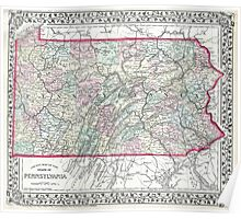Vintage Map of Pennsylvania (1874) Poster
